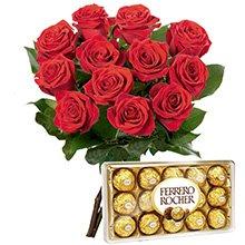 12 Lindas  Rosas Vermelhas e Ferrero Rocher