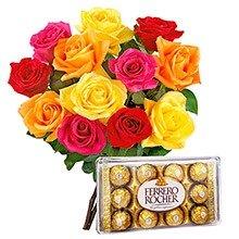 12 Lindas Rosas Coloridas com Ferrero Rocher