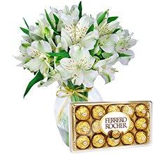 Astromélias Branco com Ferrero Rocher (Vaso não incluso)