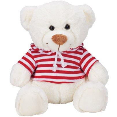 Ursinho Candy Branco Listrado Branco e Vermelho