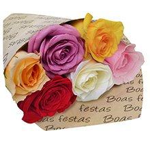 Boas Festas com Rosas Coloridas