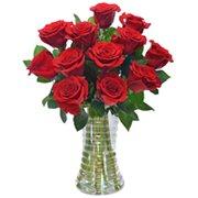 Luxuosas 12 Rosas Vermelhas no Vaso