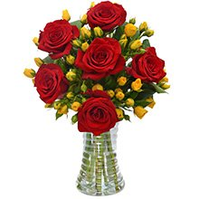 Elegante Rosas Vermelhas e Amarelas no Vaso