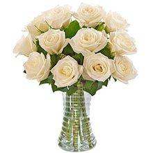 Luxuosas 12 Rosas Brancas no Vaso