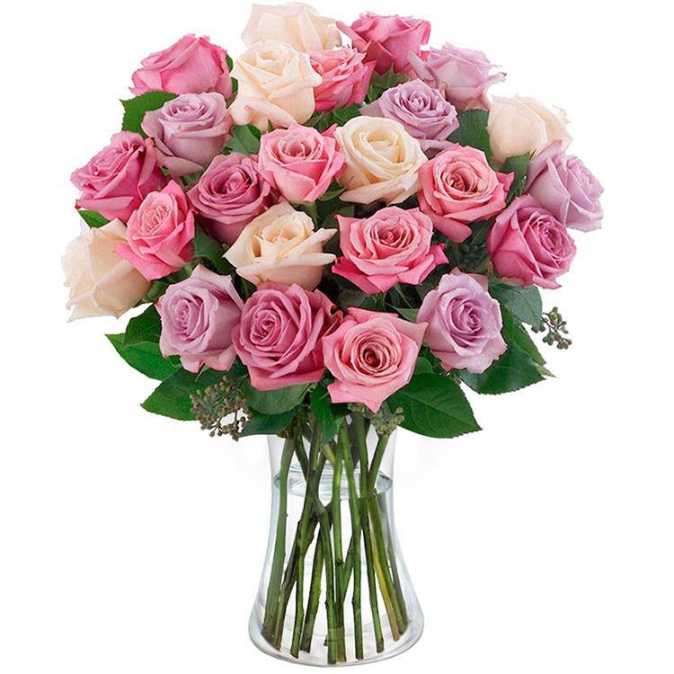 Luxuosas 24 Rosas Mescladas no Vaso