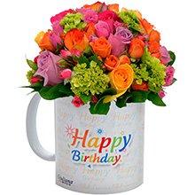 Caneca Happy Bhirthay & Flores Nobres