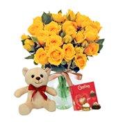 Contagiar de Rosas Amarelas com Chocolate e Pelúcia
