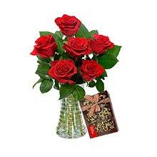 Luxuosas 6 Rosas Vermelhas & Chocolate