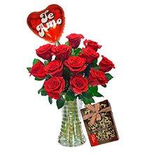 Luxuosas 12 Rosas Vermelhas, Balão e Chocolate