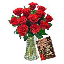 Luxuosas 12 Rosas Vermelhas e Chocolate