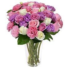 Luxuoso Mix de Rosas e Lisianthus Mesclados no Vaso