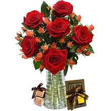 Elegante Rosas Vermelhas e Laranja e Chocolate