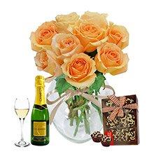 Surpresa de Rosas Champanhe Bebida e Brigadeiro
