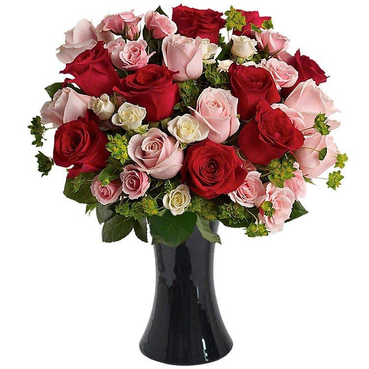 Magnífico Mix de Rosas no Vaso