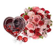 Mix de flores & Porta Retrato Globo Coração - Eu e Vc