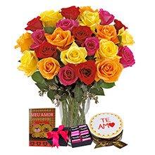 Soneto 36 Rosas Coloridas, com Bolo, Cartão e Chocolates