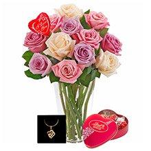 Brilhantes Rosas Mescladas, Jóia, Balão e Chocolate