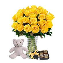 Luxuosas 24  Rosas Amarelas, Pelúcia e Chocolate