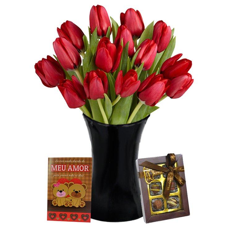 Poesia das Tulipas Vermelhas com Chocolate e Cartão
