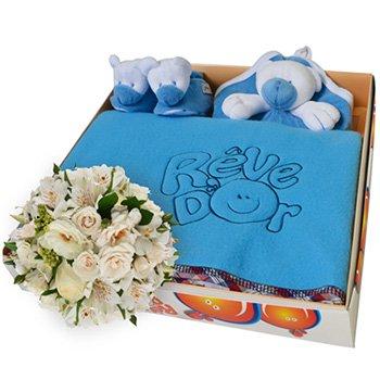 Mix de Flores & Kit Manta Urso Azul