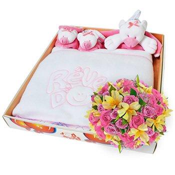 Flores Mix de Flores & Kit Manta Urso Rosa