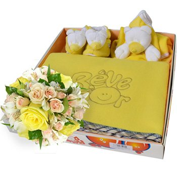 Mix de Flores & Kit Manta Urso Amarelo