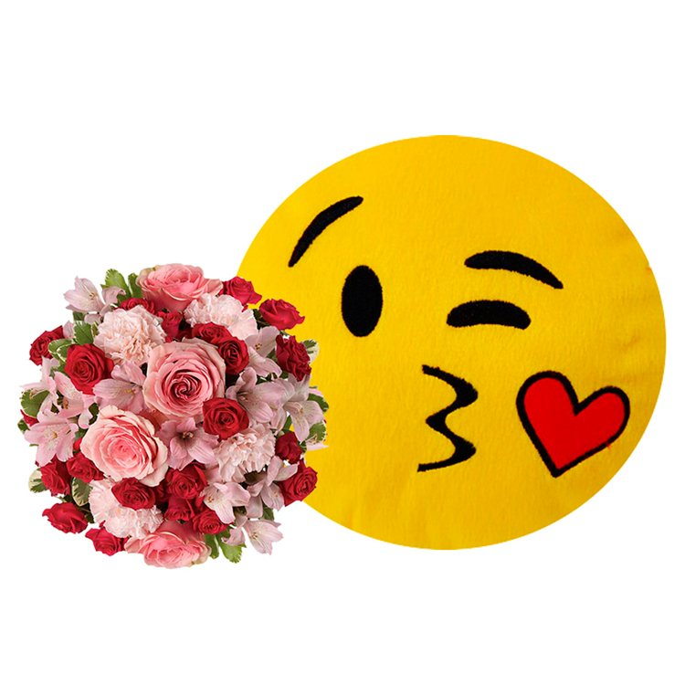 Mix de Flores Rosa & Emoji Romântico