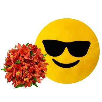 Buquê de Astromélias Vermelhas & Emoji Óculos