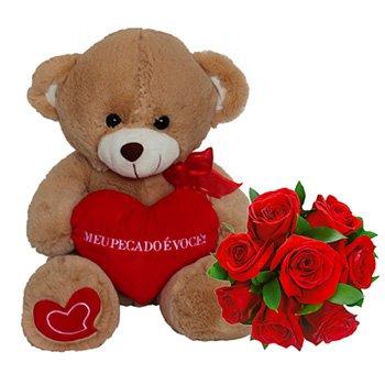 Rosas Colombianas e Urso Caramelo