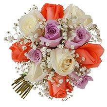 Buquê Tradicional Inspiração Colorido 12 Rosas