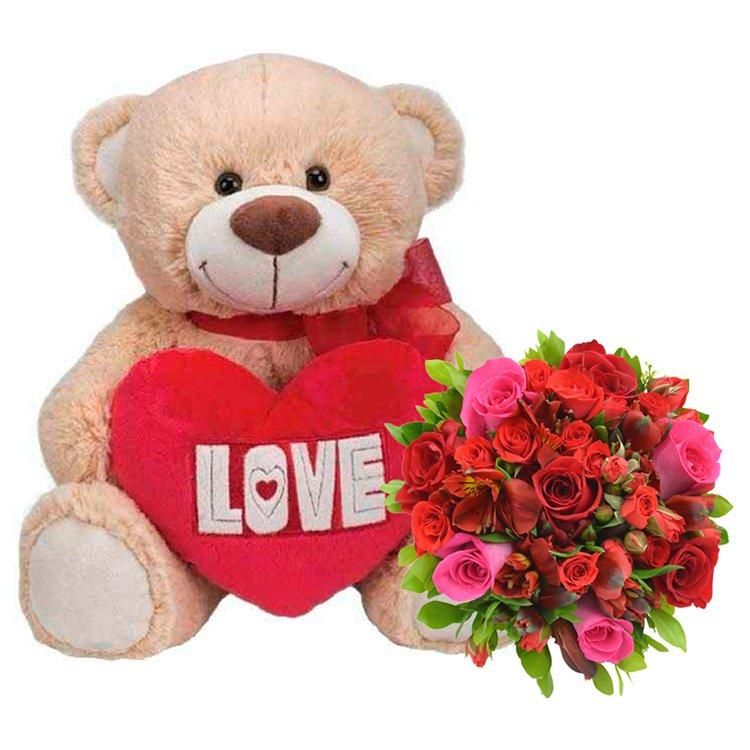 Mix de Flores & Urso Love Com Coração