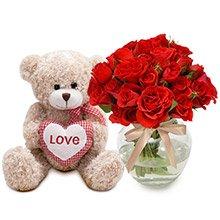 Brisa Red & Urso Coração Xadrez