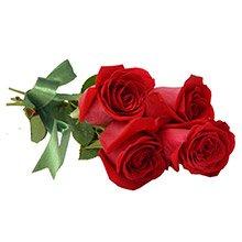 Buque com 4 Rosas Colombianas Vermelhas