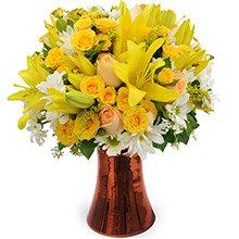 Poesia Mix de Rosas & Lírios Amarelos Luxo