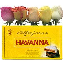 Buquê de Rosas Vermelhas & Alfajor Misto Havanna