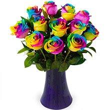 Luxuosas 12 Rosas Multicolor