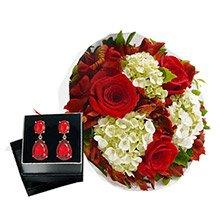 Buquê Carinho de Rosas Red & Brinco Lidi Rubi