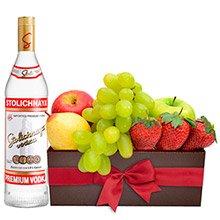 Cesta de Frutas & Vodka Let Solichnaya