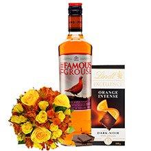 Mix de Flores, Chocolate & Whisky Escocês The Famous Grouse