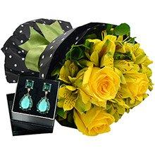Buquê Suavidade de Flores Amarelas & Brinco Soon Turmalina