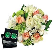 Mix de Flores Branco & Brinco Round Galer Esmeralda