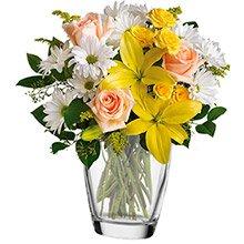 Sofisticado Mix de Rosas & Lírios Amarelos no Vaso