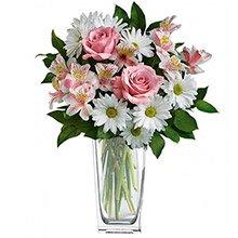 Sofisticado Mix de Flores Rosa no Vaso