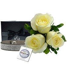 Rosas Brancas & Bracelete Glamour Silver