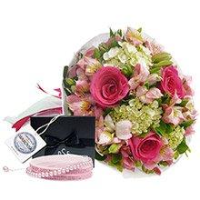 Buquê Carinho de Rosas Pink & Bracelete Pérola