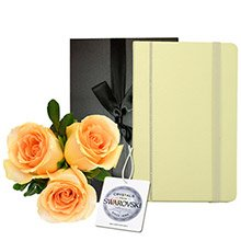 Trio de Rosas Importadas Champanhe & Notebook Diary