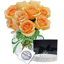 Surpresa de Rosas Champanhe & Bracelete Glamour Cry
