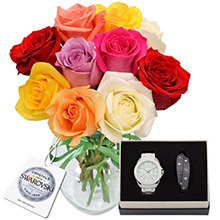 Surpresa de Rosas Coloridas & Watch Whit Leather Bracelet Grey