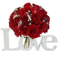 Letreiro Love & Buquê Tradicional Inspiração 24 Rosas