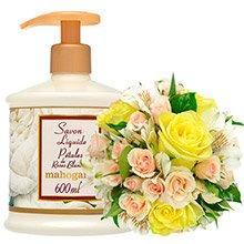 Mix de Flores Amarelas & Sabonete Mahogany Pétalas de Rosas Brancas